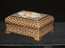 Magnificient Mother Of Pearl Gold Inlaid Wood Trinket Box Painted Cameo