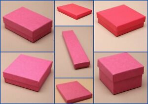 Fuchsia Pink Boxes Flocked Pad Jewellery Gift Favour Present Shop Lot Wholesale