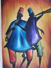 African olio/acrilico dipinto originale firmato musicisti Folk Art