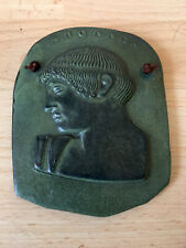 More details for vintage terracotta greek wall plaque made in greece bronze finish 5 inches tall