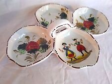 Vintage Colorful Italy Divided Serving Tray/Dish 4 Connected Bowls w/Handle