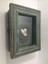 Vintage Farmhouse Shadow Box Bird Nest Wall Art Framed Home Decor Artwork