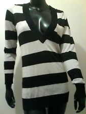 Women's Striped Long-Sleeved Knit Top, JEANSWEST, Gold Lurex & Black, Size M
