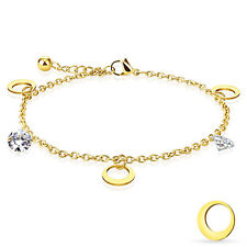 CZ and Round Moon Dangling Charm Chain Gold IP Stainless Steel Anklet Bracelet