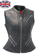 UK STOCK WOMENS HANDMADE CLASSICAL SOFT REAL LEATHER LADIES BIKER WAISTCOAT/VEST