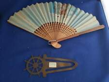 "Antique Vintage Asian Folding Hand Fan 6.5""L and Brass Book Mark 5""L"