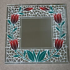 Superb Hand Crafted Mosaic Mirror With Tulips Color 40x40 Cm Wide