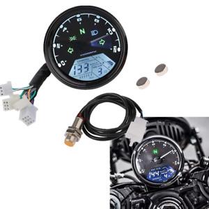 LCD Digital Speedometer Tachometer Odometer For 4-stroke Motorcycle Cafe Racer