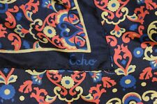 Vtg Echo Silk Square Scarf Renaissance Floral Art Museum Acanthus Black 25�