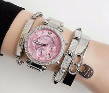Original Michael Kors Uhr Damenuhr MK6105 Parker FARBE: Rose/Silber Kristall NEU