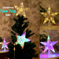 Christmas Tree Top Topper Star LED Hanging Light Birthday Xmas Decor Glitter