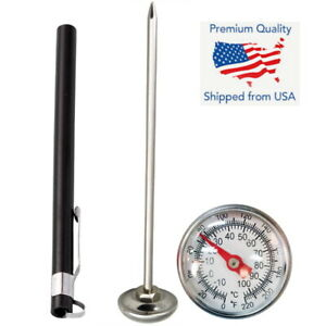 Stainless Steel Pocket Probe Thermometer Gauge for Food Cooking Meat BBQ - Black