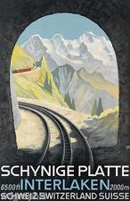 Interlaken Switzerland Vintage Travel Poster or Canvas Print 18x28