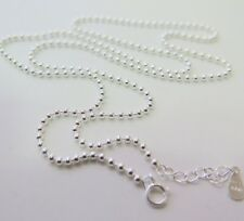 """New Fine Pure S925 Silver Necklace Elegant Smooth Beads Link Chain 2mmW 21.7""""L"""