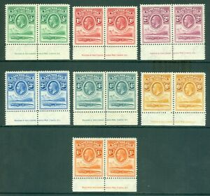 SG 1-7 Bechuanaland 1933. ½d to 1/- in lower marginal pairs with inscription...