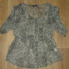BNWOT LADIES NOW SIZE 16 SHEER ANIMAL PRINT DRESSY BUTTON THROUGH TOP ~ NEW