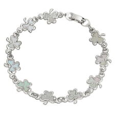 White Mother of Pearl Shell Shamrock / Clover Chain Silver Bracelet