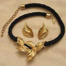 Avon Autumn Leaf Necklace & Stud Earrings Adjustable Black Cord Nickel Free