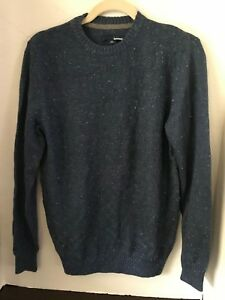 BASIC EDITIONS Men's Blue Crew Neck Cotton Blend Sweater