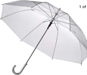 "12 Clear Umbrellas Wholesale Lot - 46"" Arc Auto Open Weddings"