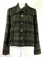 PENDLETON womens blazer jacket SIZE 14 green purple tweed buttons lined (J488)