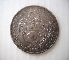 1 SOL PERU' 1868 Y.B Type 2 - ARGENTO .900 - PERU SILVER 9/10