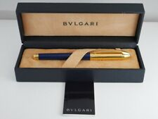 BVLGARI Blue Lacquer and Gold Plated Fountain Pen M (Excellent) FREE SHIPPING