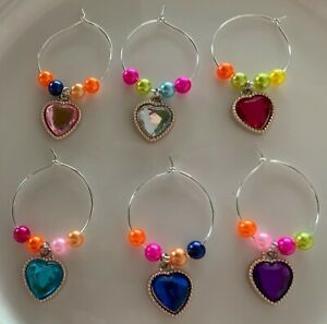 Love Heart Wine Glass Charms Set of 6 Hand Beaded in 6 colours