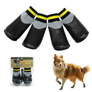 4Pcs Anti-Slip Dog Shoes Socks Boots Waterproof Repellent Rubber Durable Boots