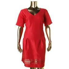 NY Collection 8486 Womens Red Neoprene Laser Cut Cocktail Dress Plus 1X BHFO