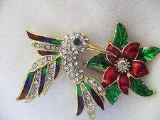 NEW Rhinestone & enamel hummingbird & flower pin brooch