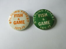 lot of 2 - Sterling Forest State Park New York Fish & Game Button License 1970's