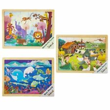 Robotime Wooden Jigsaw Puzzles 3 Set Animal Preschool Toy Gift for Kids Boy Girl