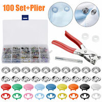 100 Sets Sewing Prong Pliers Ring Press Studs Snap Popper Fasteners DIY Tool Kit