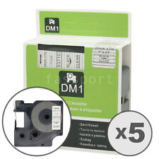 """5pk Black on Clear Tape Label Compatible for DYMO 53710 D1 24mm 1"""""""
