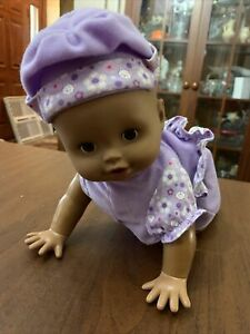 2008 Fisher Price Little Mommy Babbling Crawling Baby Doll African American A23