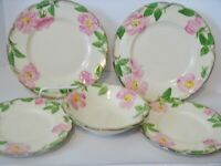 Franciscan Desert Rose 2 Salad 2 Bread Butter 1 Sauce Bowl Made USA Vtg 1960s