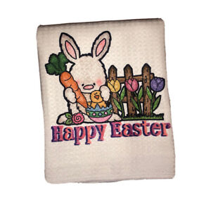 Happy Easter Bunny Waffle Weave Kitchen Towel (16x16 Inches)