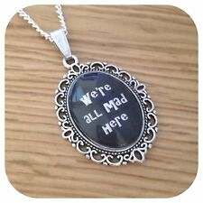 Alice in wonderland WE'RE ALL MAD Hatters necklace (kB)