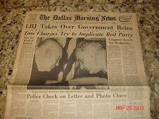 ORIG DALLAS MORNING NEWSPAPER 11/24/1963 post KENNEDY DEATH LBJ TEXAS +68 ANNIV