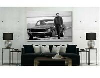 Steve Mcqueen Ford Mustang Bullitt Movie Canvas Wall Art Print