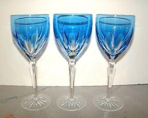 Gorham Crystal Clermont Blue 3 Wine Goblets