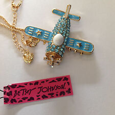 """BLUE CRYSTAL AIRPLANE 28"""" Pendant Necklace Betsey Johnson+"""