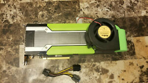 Nvidia Tesla m40 12GB GDDR5 GPU with blower fan mount, bracket, and power adapt