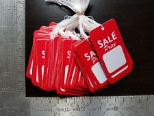 100 Red White Sale Price Tags w/ String Merchandise Garment Hang Coupon Large