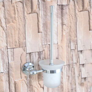 Bathroom Silver Chrome Toilet Brush Holder Set & Scrub Glass Cup 2ba793