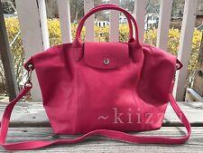 NEW w/dustbag Longchamp Le Pliage Cuir Leather Tote Pink Medium Handbag Foldable