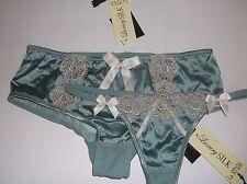 Bnwt La Senza 8 10 12 14 16 18 Georgia Shorts or Thong in Sea Green Silk & Lace