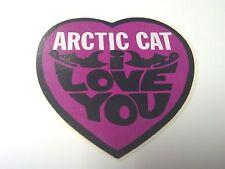 "ARCTIC CAT, RARE, Snowmobile STICKER, HEART, ""I LOVE YOU"", 3-1/4 X 3-3/8"