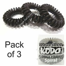 Hair Bands Telephone Wire Style PACK OF 3 Genuine KODO Spiral Hair Bobbles BROWN